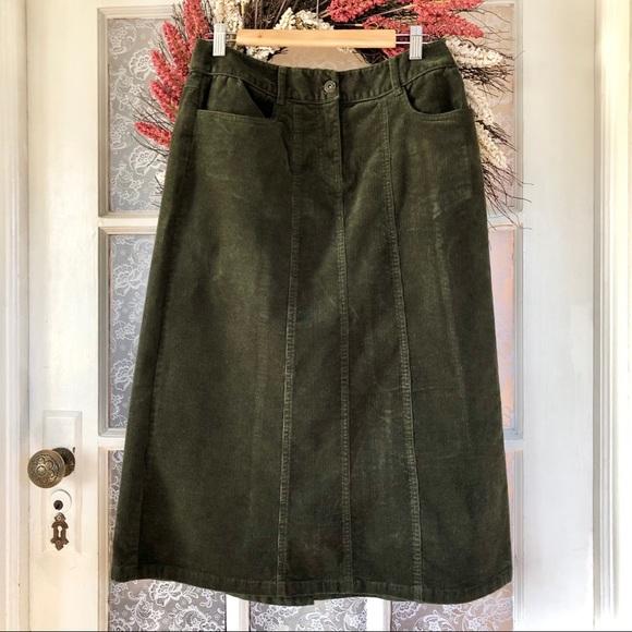 Dark Olive Stretch Corduroy Midi Skirt
